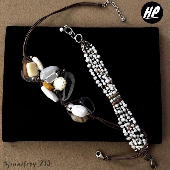 Silpada Jewelry - Silpada Leather Boho Necklace Pearls Stone & Bone